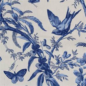 Indigo Bunting Floral Drapery Fabric Color Cornflower Blue