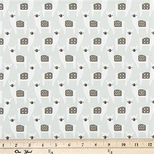 Alpaca Farm Frost Green Cotton Fabric by Premier Prints
