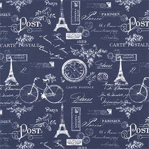 Paris Vintage Indigo Cotton Drapery Fabric by Premier Print Fabrics 30 Yard Bolt