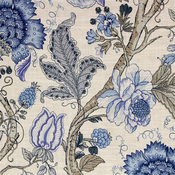 Maison floral print drapery fabric color baltic blue for Baltic linen maison 8 pc comforter set