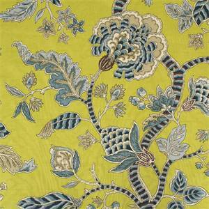 Brookview Avocado Green Printed Floral Drapery Fabric