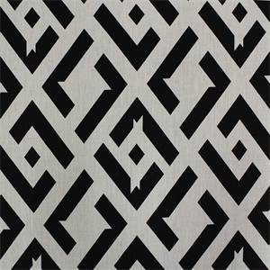 Puzzled Black White Geometric Linen Print by Kravet
