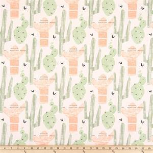 Cactus Sundown Green Peach Drapery Fabric by Premier Prints
