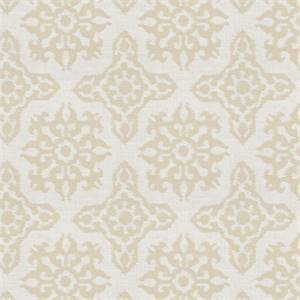Bergamo in color Canvas Embroidered Medallion Metallic Fabric by Charlotte Moss for Fabricut