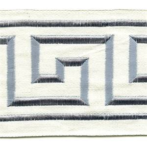 "Liaz Ivory Blue Gray Embroidered Greek Key 4"" Wide Tape Trim"