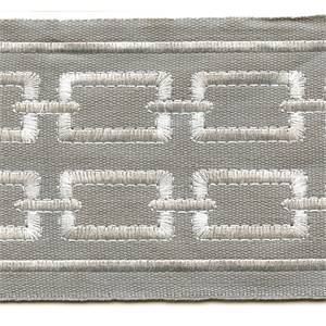 "Link Gray Embroidered Double Chain 4"" Wide Tape Trim"