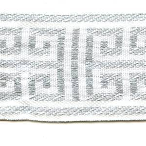 "Corinth White Gray Greek Key 2"" Wide Tape Trim"