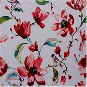 Zoey Coral Red Floral Drapery Fabric