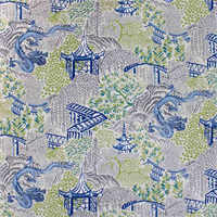 Cobalt Toile Col. 04225 Drapery Fabric by Vern Yip