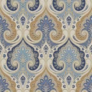 Latika Kf Delta Blue Paisley Linen Drapery Fabric