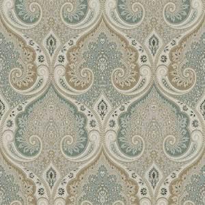Latika Kf Seafoam Blue Paisley Linen Drapery Fabric