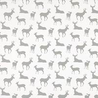 Deer Silhouette White Storm  Drapery Fabric by Premier Prints - 30 Yard Bolt