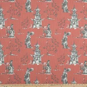 Asian Toile Scarlet Slub Canvas Printed Drapery Fabric By Premier