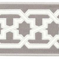 "3.5"" Jieda Grain Gray White Star Tape Trim"
