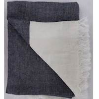 Brother Blanket Cream/Blue Linen Throw Blanket