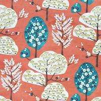 Cora Coral Folk Tree Print Upholstery Fabric