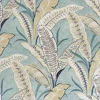 Blue Stylized Palm Leaf Tropical Print