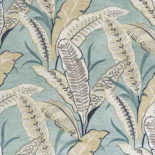 Blue Stylized Palm Leaf Tropical Print