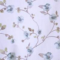 Funflower Delphinium Blue Floral Embroidered Drapery Fabric