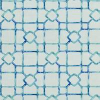 Dinah Isle Waters Blue Lattice Drapery Fabric by Covington