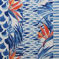 Tropical Stripe Blue Drapery Fabric
