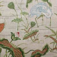 Lovebird Oriental Drapery Fabric in Color Linen