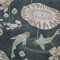 Koi Pond Teal Blue Drapery Fabric
