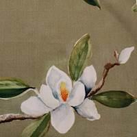 Magnolia Flax Floral Drapery Fabric