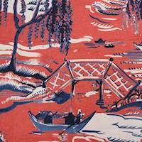 Yuma Pomegranate Red Oriental Toile Drapery Fabric