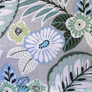 Tracy Sage Green Floral Linen Drapery Fabric