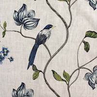 Magpie Indigo Embroidered Home Decor Fabric