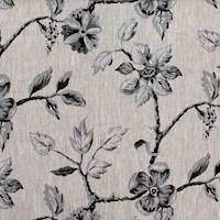 Soraya Black / Oatmeal #7 Floral Linen Fabric
