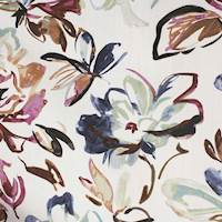 O'Keeffe Midnight Cotton Floral Drapery Fabric