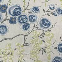 Peony Tree Blue Linen Floral Fabric