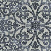 Floral Scroll Indigo Blue Upholstery Fabric 13SEGGA