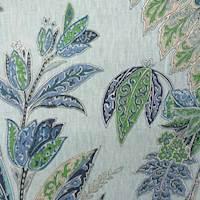 Ishara Sapphire Blue Floral Linen Fabric
