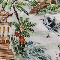 Emperor Palm Oriental Toile Decorator Fabric