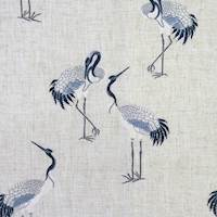 Kansha River Blue Embroidered Crane Fabric