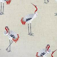 Kansha Umber Embroidered Crane Fabric