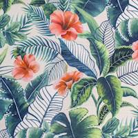 Java Leaves Green Tropical Floral Decorator Fabric