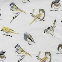 Birdsong Neutral Embroidered Home Decor Fabric