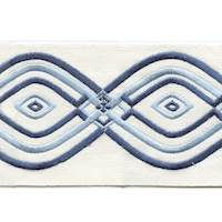 "Montauk White Blue 4"" Border Tape Trim"
