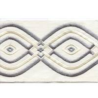 "Montauk White Gray 4"" Border Tape Trim"