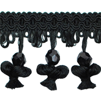 IR4292 - BK - Onion Tassel Bead Trim - Black - 20 yard reel