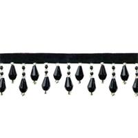 IR1670 - BKS - Teardrop Bead Fringe - Black, Silver - 10 yard reel