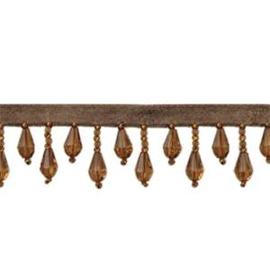 IR1670 - LBR - Teardrop Bead Fringe - Light Brown - 10 yard reel