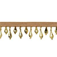 IR1670 - GL - Teardrop Bead Fringe - Gold - 10 yard reel